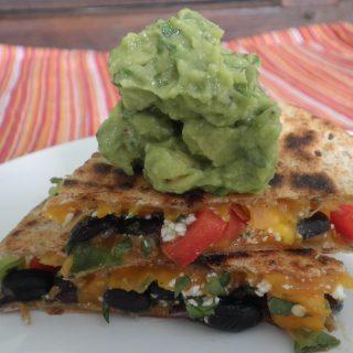 Black Bean and Mango Quesadilla with Green Goddess Guacamole