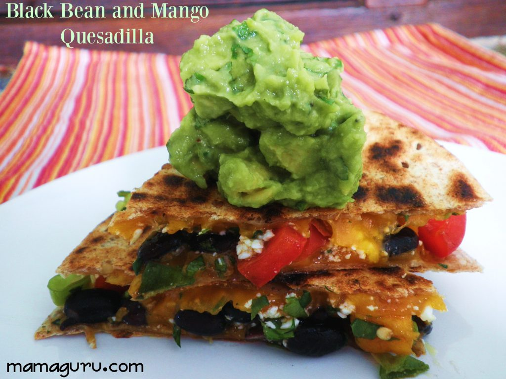 Black Bean and Mango Quessadilla with Green goddess Guacamole