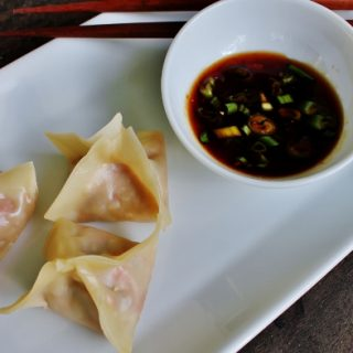 Steamed Shrimp Dumplings with Apricot-Soy Dipping Sauce