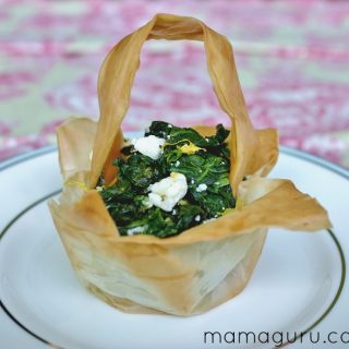 Spanikopita in Phyllo Baskets