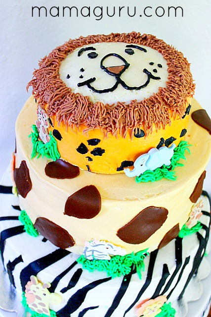 Zoo Birthday Cake with animal prints