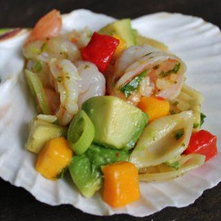 Mango-Shrimp-Avocado Pasta Salad