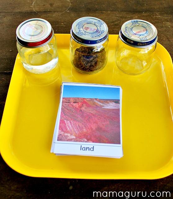 Montessori DIY: Sandpaper Globe: Land, Water and Air Preschool Lesson