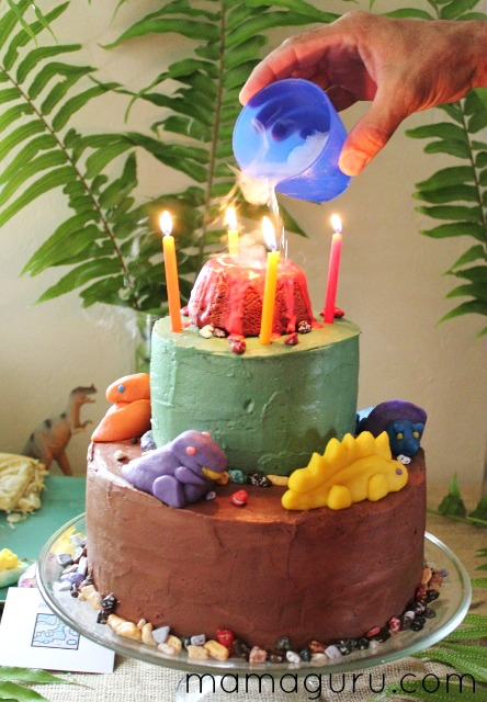 Dinosaur Birthday Cake with steaming volcano on top