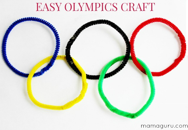 Easy Olympics Rings Craft for Toddlers using pipe cleaners
