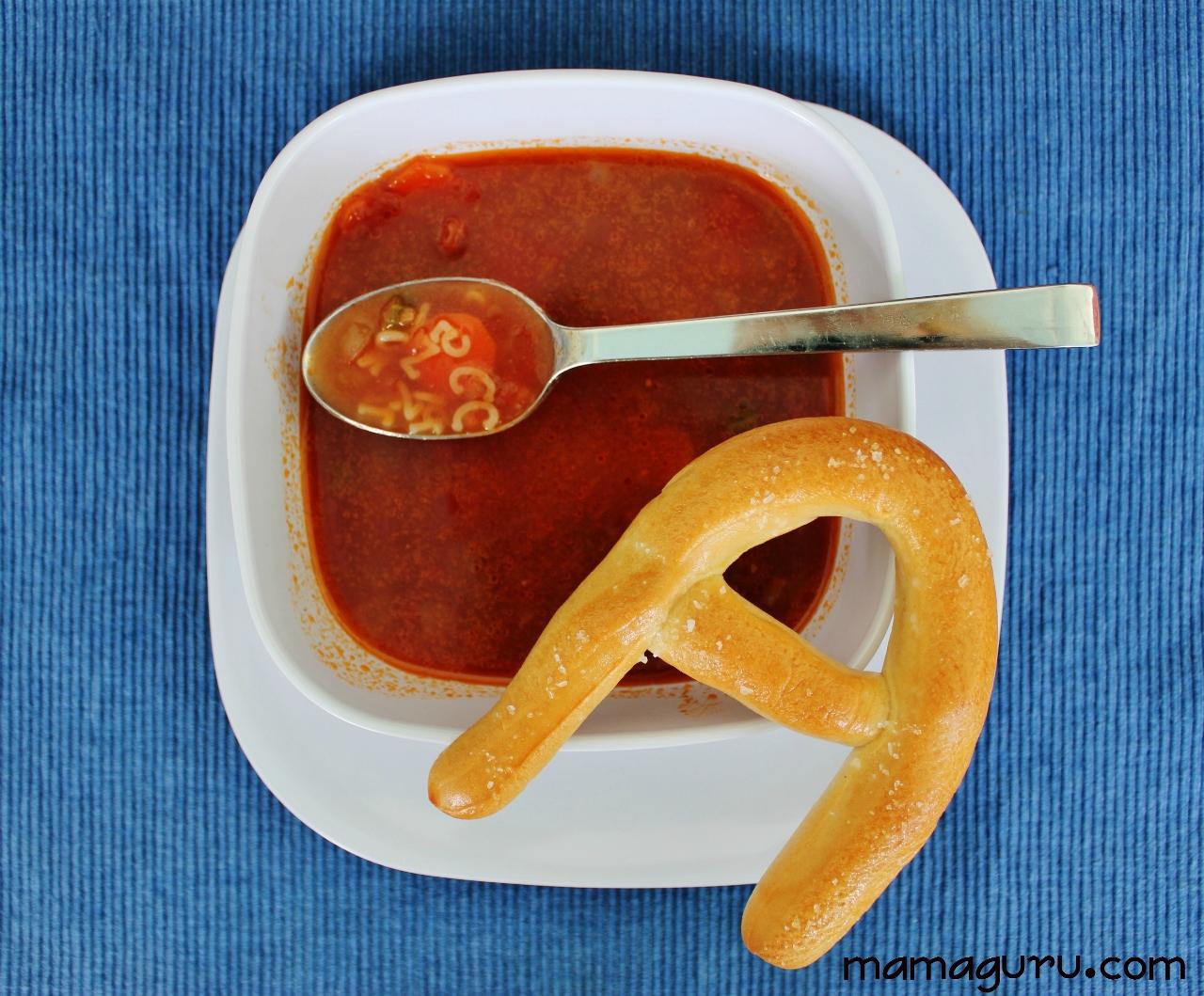 Alphabet Soup with Alphabet Pretzels - Mamaguru