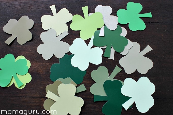 St. Patrick's Day Preschool Party Shades of Green Matching Shamrock Game