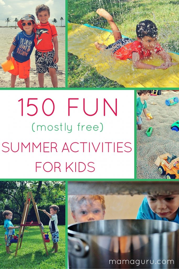 Collage picture of children playing, 150 ideas for kids to do this summer, free fun for kids