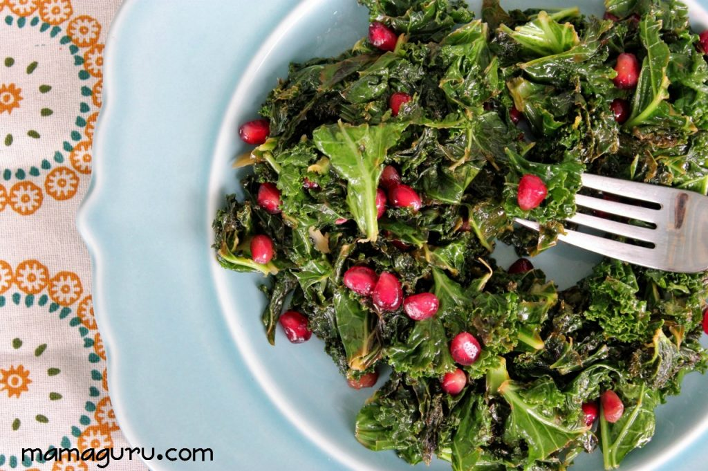 Kale and Pomegranate Superfood salad recipe with lemon-garlic vinaigrette