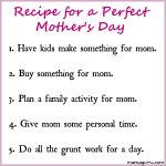 Recipe for a Perfect Mother's Day (for Dads)