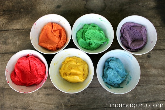 Rainbow Cookies for St. Patrick's Day, colored cookie dough